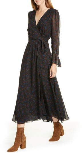 Polo Ralph Lauren Daphne Floral Long Sleeve Wrap Midi Dress