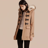 Burberry Detachable Fur Trim Wool Duffle Coat