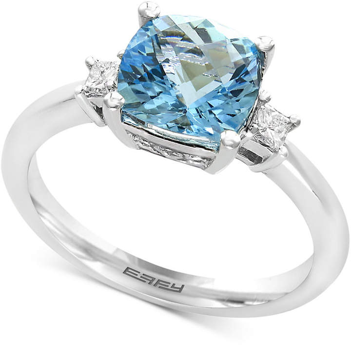 Effy Aquarius Aquamarine (2-1/10 ct. t.w.) and Diamond (1/10 ct. t.w.) Ring in 14k White Gold