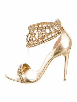 Rene Caovilla Patent Leather Crystal Embellishments Sandals Gold