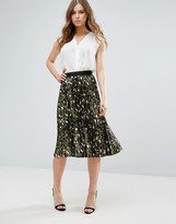 Liquorish Animal Print Pleated Skirt