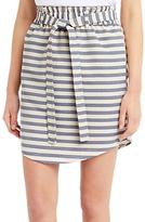 Oasis Stripe Paperbag Skirt, Blue/Cream