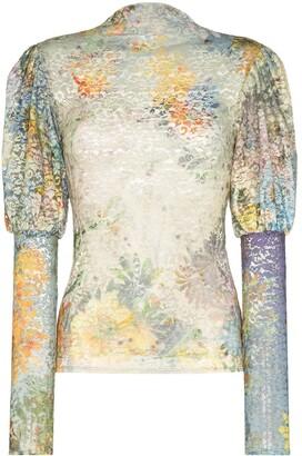 Collina Strada Floral Lace Tie-Dye Detail Blouse