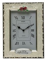 The Album Shop SILVER & IVORY WHITE MARBLED 40TH ANNIVERSARY CLOCK / RUBY WEDDING GIFT