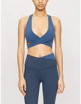 Beyond Yoga Run Around V-neck stretch-jersey sports bra