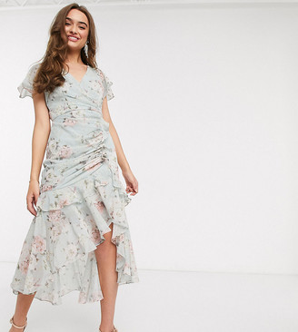 Forever New Petite ruched midi dress in soft mint floral