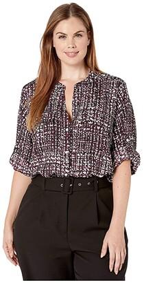 Calvin Klein Plus Plus Size Printed Roll Sleeve Blouse (Aubergine Combo 2) Women's Blouse