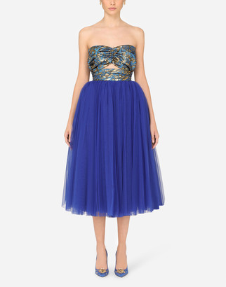 Dolce & Gabbana Brocade And Tulle Calf-Length Dress