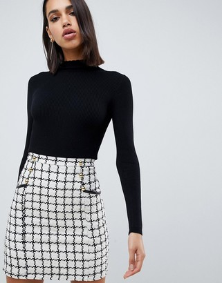 Lipsy 2 in 1 dress with checked skirt in mono