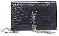Saint Laurent Women's Kate Tassel Croc-Embossed Leather Shoulder Bag