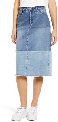WASH LAB Pieced Denim Skirt