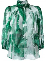 Dolce & Gabbana banana leaf print sheer blouse