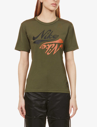 Black Comme des Garcons x Nike logo-print cotton-jersey T-shirt