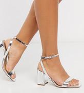 Asos Design ASOS DESIGN Wide Fit Havana block heeled sandals in silver