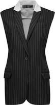 Norma Kamali Paneled striped cady and stretch-cotton vest