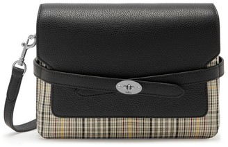 Mulberry Belted Bayswater Satchel Black and Khaki Small Tartan Check