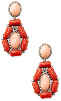 Diamond Earrings with Coral