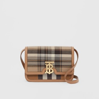 Burberry Small Tartan Wool and Leather TB Bag