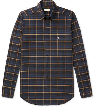Etro Slim-Fit Button-Down Collar Checked Cotton Shirt