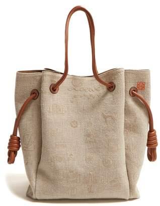 Loewe Flamenco Canvas Tote Bag - Womens - Cream Multi
