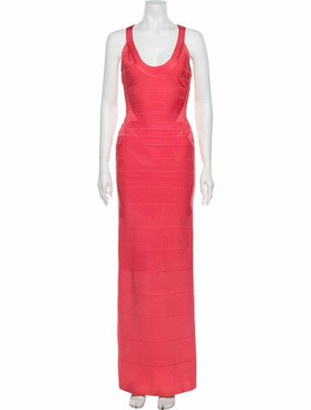 Herve Leger Scoop Neck Long Dress w/ Tags Pink