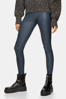 Topshop Womens Teal Coated Leather Look Leggings - Teal