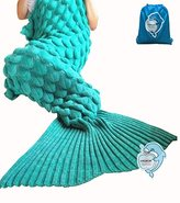 """LAGHCAT Mermaid Tail Blanket with Scale Knit Crochet and Mermaid Blanket for Adult,Sleeping Blanket (71""""x35.5"""", Scale-Green)"""