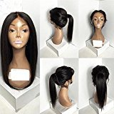 EO Natural looking synthetic hair lace front wig free part baby hair #1b#2#6#27#613Stock (22in, 1b#)