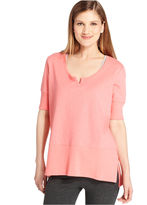 Calvin Klein Top, Short-Sleeve French-Terry High-Low Pullover