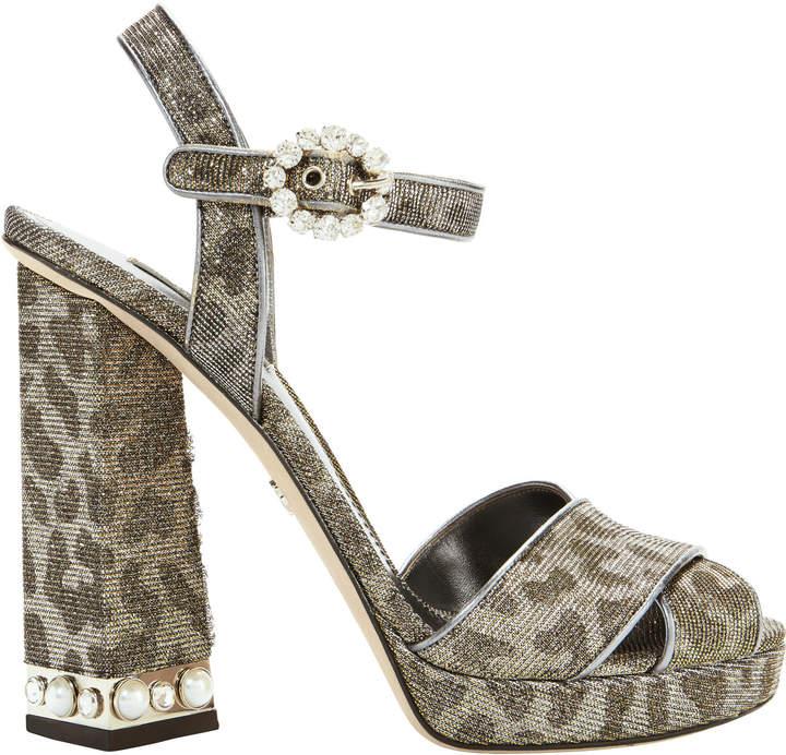 Dolce & Gabbana Glitter Leopard Embellished Sandals