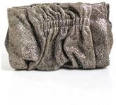 Henri Bendel NWOT Metallic Brown Leather Magnetic Closure Ruched Clutch Handbag