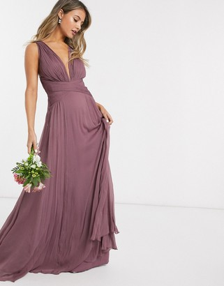 ASOS DESIGN Bridesmaid ruched bodice drape maxi dress with wrap waist