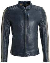 Gipsy Track Leather Jacket Dark Blue