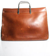 Ralph Lauren Cinnamon Brown Leather Silver Metal Handle Large Tote Handbag
