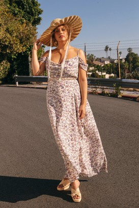 Nasty Gal Womens We Really Lilac You Plus Floral Maxi Dress - White - 16