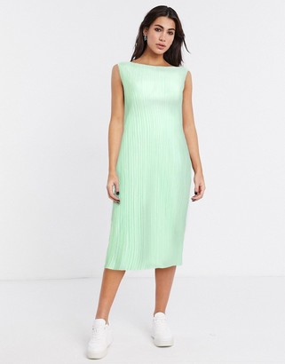 Weekday Izar plisse midi dress in light green
