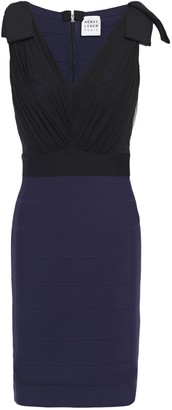Herve Leger Bow-detailed Tulle And Bandage Mini Dress