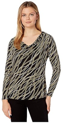MICHAEL Michael Kors Bias Link Cowl Long Sleeve Top (Black/Gold) Women's Clothing