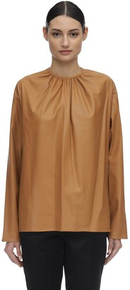 we11done Shirring Faux Leather Shirt
