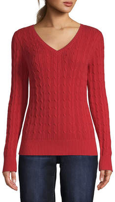 ST. JOHN'S BAY Tall Womens V Neck Long Sleeve Pullover Sweater