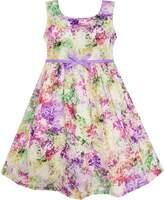 Sunny Fashion HA66 Girls Dress Blooming Flower Garden Print Sleeveless