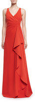 Armani Collezioni Techno Cady Side-Ruffle Gown, Red
