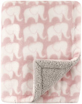 Hudson Baby 30'' x 40'' Pink Elephants Plush Blanket