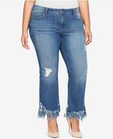 William Rast Trendy Plus Size Frayed-Hem Kick-Flare Jeans