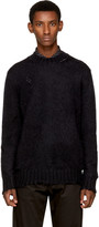 Alexander McQueen Black Distressed Mohair Sweater