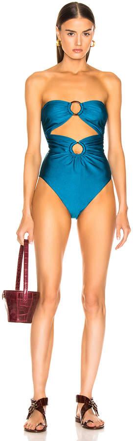 Zimmermann Wayfarer Strapless Ring Swimsuit in Teal | FWRD