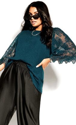 City Chic Embroidered Angel Top - peacock