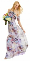Nicole Miller New York Ruffled Chiffon Floral Print Cold Shoulder Dress