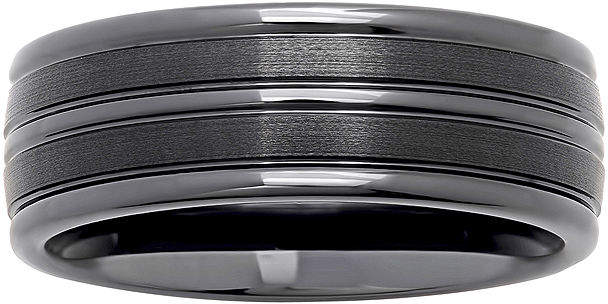 JCPenney MODERN BRIDE Personalized Mens 8mm Comfort Fit Striped Black Ceramic Wedding Band
