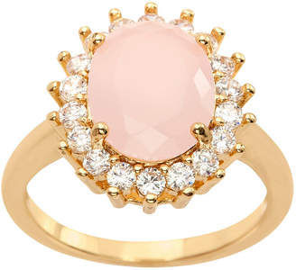 clear SPARKLE ALLURE Sparkle Allure Cz And Light Rose Opaque Large Oval Crystal Stone Pink Crystal 14K Gold Over Brass